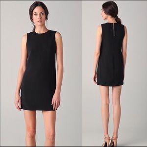 Vince. Black Dress-Sleeveless-Shift dress-Silk-EUC
